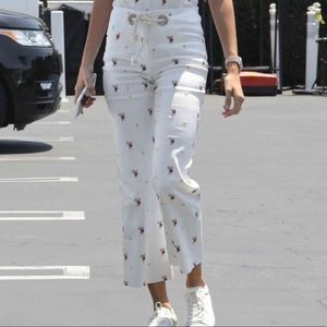 Miaou White Floral Embroidered Jeans Rope Belt 24